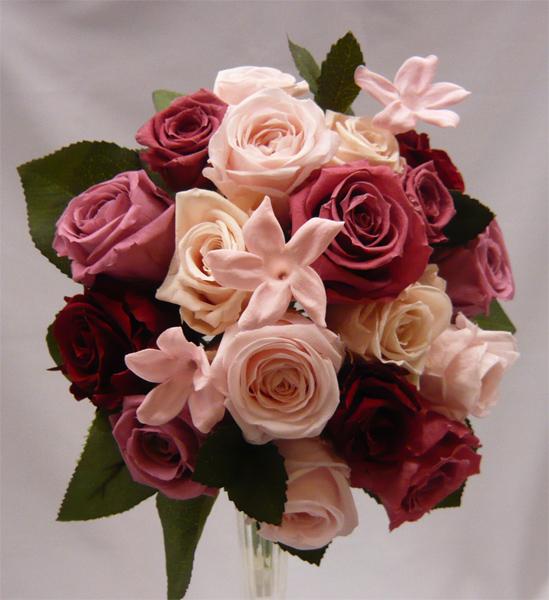 【ウエディングブーケ】【ブライダルブーケ】ピンクバラとピンクジャスミンのラウンド【smtb-tk】