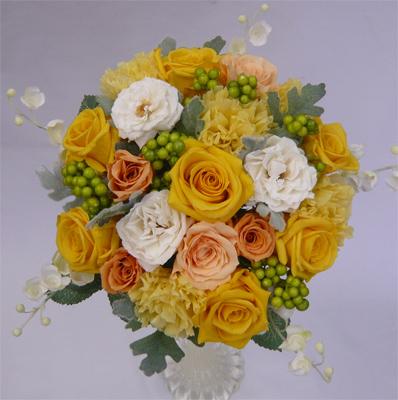 【ウエディングブーケ】【ブライダルブーケ】プリザーブドフラワー 黄色・オレンジバラ ラウンドブーケ【smtb-tk】