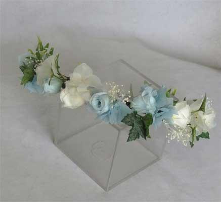 ヘッド花 花冠 ホワイト&ブルー【ヘッドドレス】
