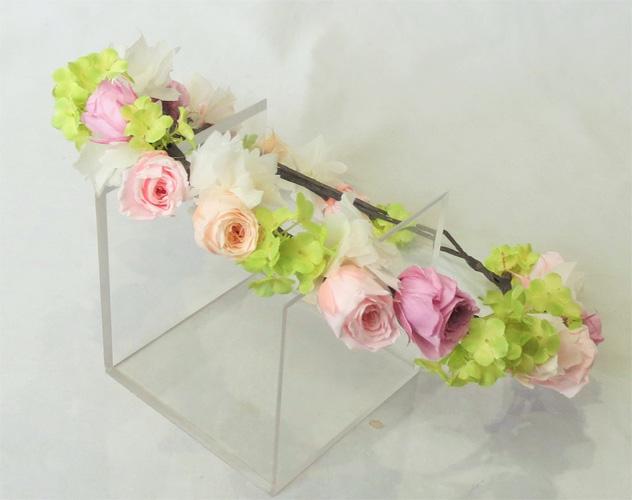 ヘッド花 花冠 ピンク&ピーチ【ヘッドドレス】