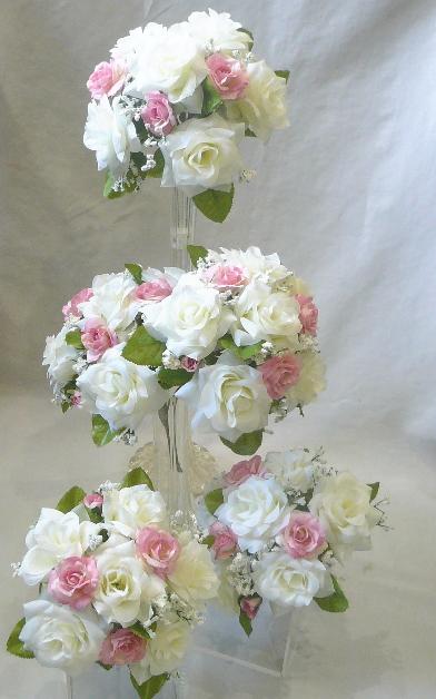 造花ブライダルブーケ ミニブーケ 贈呈 プルズブーケ ウエディングブーケ 特別セール品 ブライダルブーケ トスブーケ ピンクローズ ホワイト 5個セット