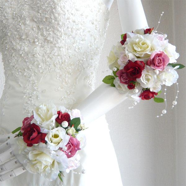 ウエディングブーケ/ブライダルブーケ/白バラ&赤・ピンクミニバラ リスレット S&M2個セット