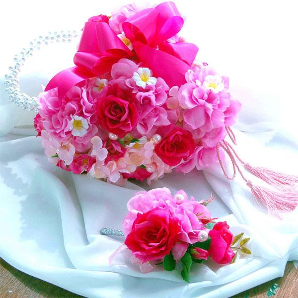 ウエディングブーケ/ラージダリアバッグブーケ ピンク 和装にもお勧め【両面使用できます】