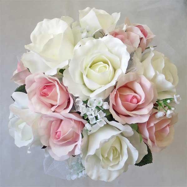 数量限定アウトレット最安価格 造花ブーケ ウエディングブーケ 税込 白バラピンクバラ ラウンド
