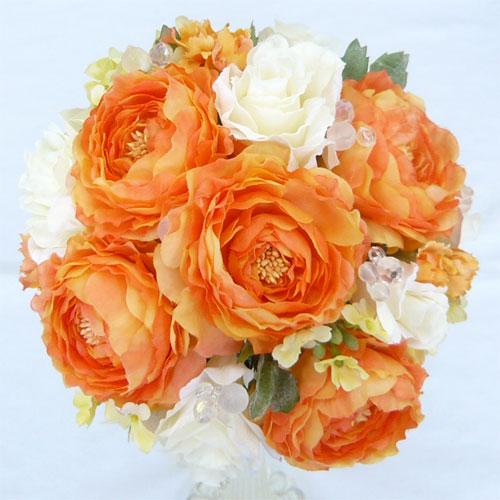 高い素材 造花ブーケ ウエディングブーケ オレンジラナンキュラスラウンドブーケ 春の新作シューズ満載