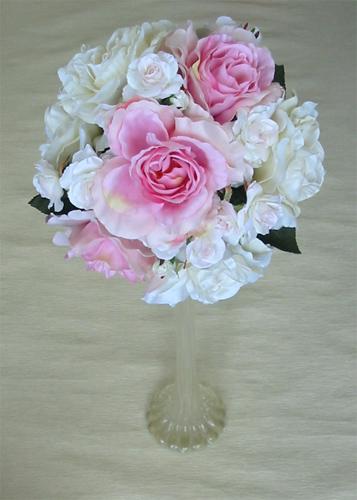 メーカー公式 造花ブーケ ウエディングブーケ 日本全国 送料無料 ピンク ホワイトローズラウンドブーケ