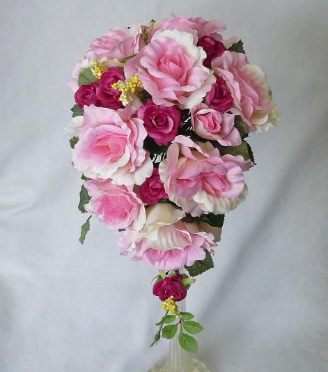 ウエディングブーケ/ピンク&濃いピンクバラセミキャスケードブーケ【smtb-tk】