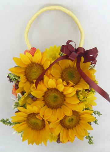 ウエディングブーケ/造花ブーケ/ひまわりとベリーのバックブーケ黄色 ブートニア付き 【20P30May15】