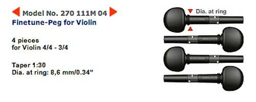 wittner ウィットナー / Finetune Peg ファインチューンペグ 270-111M 04(ギア内蔵ペグ バイオリン用 4/4-3/4 径8.6mm)【smtb-tk】