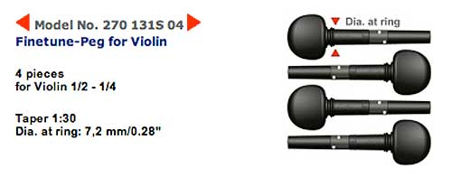 wittner ウィットナー / Finetune Peg ファインチューンペグ 270-131S 04(ギア内蔵ペグ バイオリン用 1/2-1/4 径7.2mm)