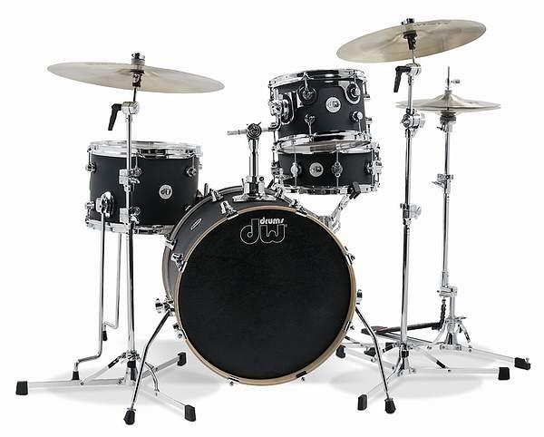 DW ドラムセット/ Design Series MINI Satin PRO DW 4pc Shell Pack-18/13 Black Satin ドラムセット【smtb-tk】, ヒチソウチョウ:2469331a --- ww.thecollagist.com