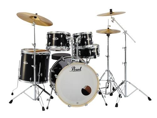 送料無料!Pearl パール / EXX Covering EXX725S/C シンバル付ドラムフルセット (スタンダードサイズ) #31 Jet Black【smtb-tk】