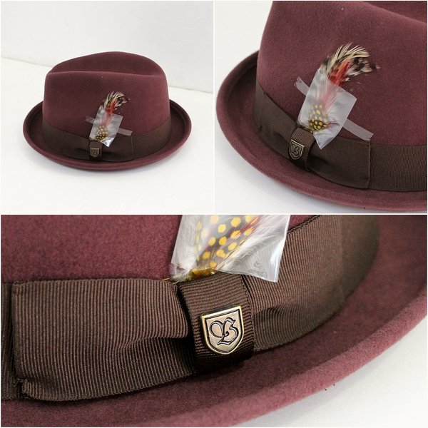 Items with luxurious feather tip BRIXTON Brixton wool felt classy Fedora  Hat Maroon GAIN 2015122105P19Dec15 d013fe75a48