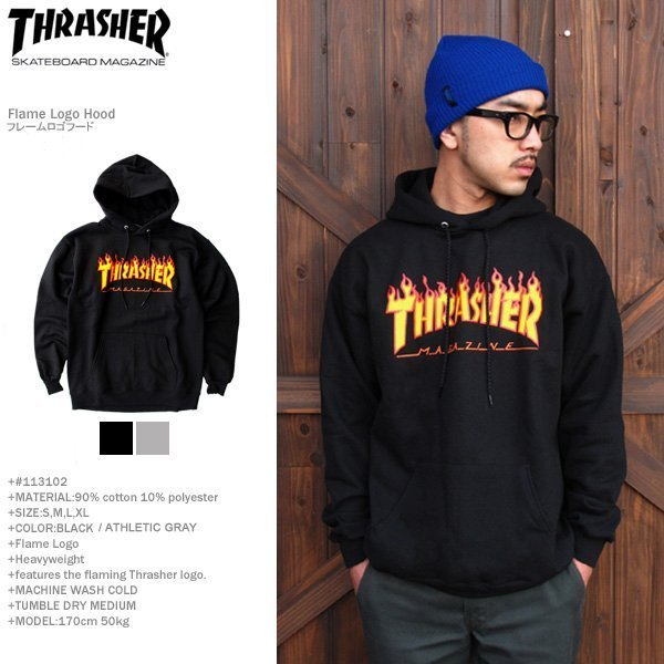 9be0fb272ef6 THRASHER MAGAZINE (Thrasher Magazine) firelogoswettopaca 2 color  113102  Flame Logo Hood