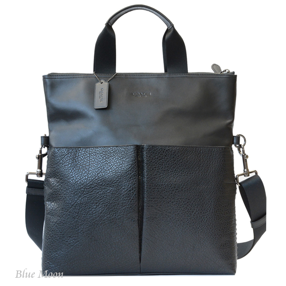 Coach Bag Leather Tote Men Blackout Let F11241 Qb Bk