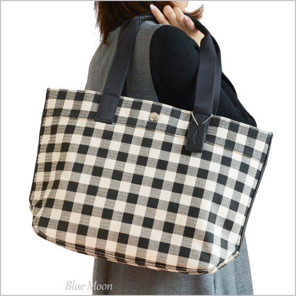 573d2019 Coach COACH tote bag Lady's gingham check outlet black multi-F39848 SVA47