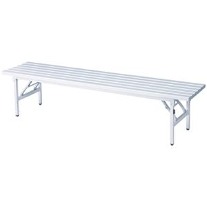 【送料無料】 バネ脚折り畳みアルミベンチ(背なし) プールサイドや屋外での使用におすすめ amigo-k-051