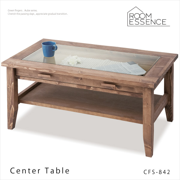 Rouen Centre Table [Model] CFS 842 [Size] W 90 X D50×H40cm [Material]  Natural Wood (pine) Oil Finish 5 Mm Tempered Glass [Shipping Weight]