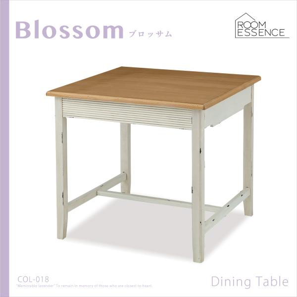 フレンチアンティーク風 ダイニングテーブル 正方形 幅80cm 天然木 木製 食卓 机 作業台 ビンテージ シンプル リビング デザイン ナチュラル COL-018