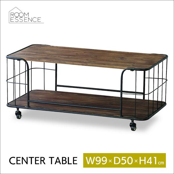 センターテーブル 幅99cm 高さ41cm キャスター付き フロアテーブル リビングテーブル テーブル 机 収納 ラック 棚 アンティーク風 スチール 天然木 カフェ IW-994
