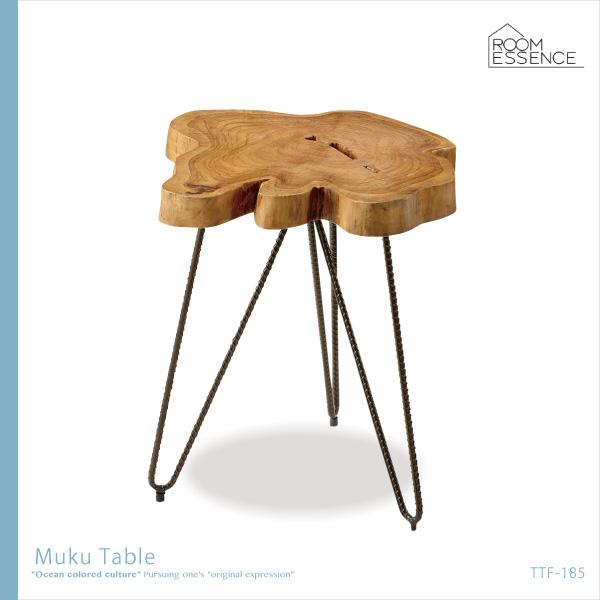 テーブル 高さ45cm サイドテーブル リビングテーブル ミニテーブル 机 レトロ アンティーク風 アイアン 天然木 木製 デザイン 無垢 カフェ TTF-185