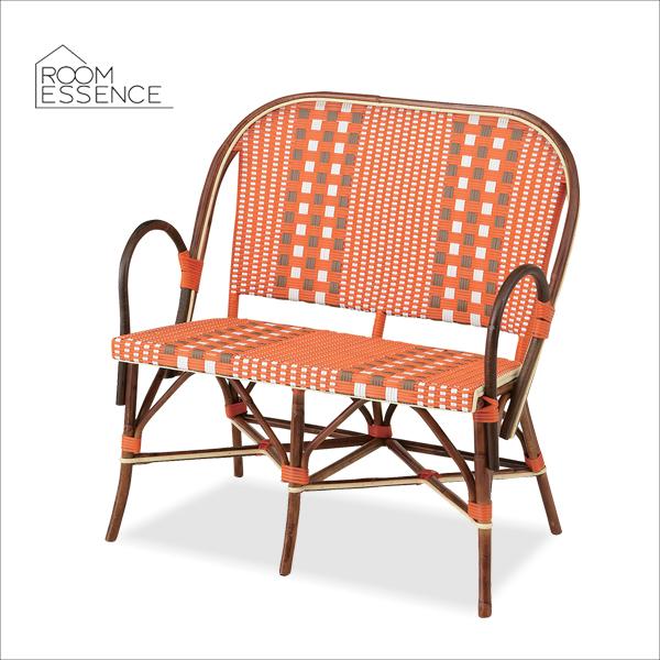 トルプ チェア 2人掛け ソファ ソファー ダイニング ラタン 籐 腰掛 椅子 いす チェアー キャンプ テラス カフェ アウトドア ガーデン リビング リゾート アジアン オレンジ TTF-172OR