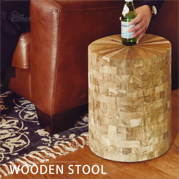 ウッドスツール 座面高さ38cm 木製スツール ラウンドスツール 花台 サイドテーブル 背なし 椅子 いす チェア TTF-910B