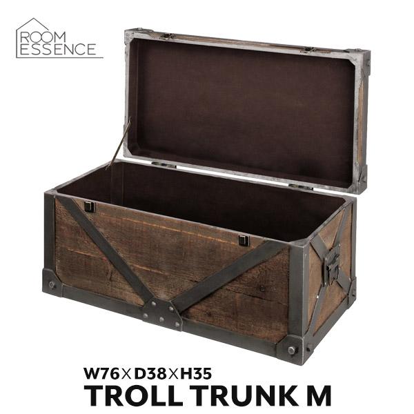 トランクM 幅76cm 収納ボックス 収納ケース 収納箱 ディスプレイ ボックス おしゃれ アンティーク風 IW-982
