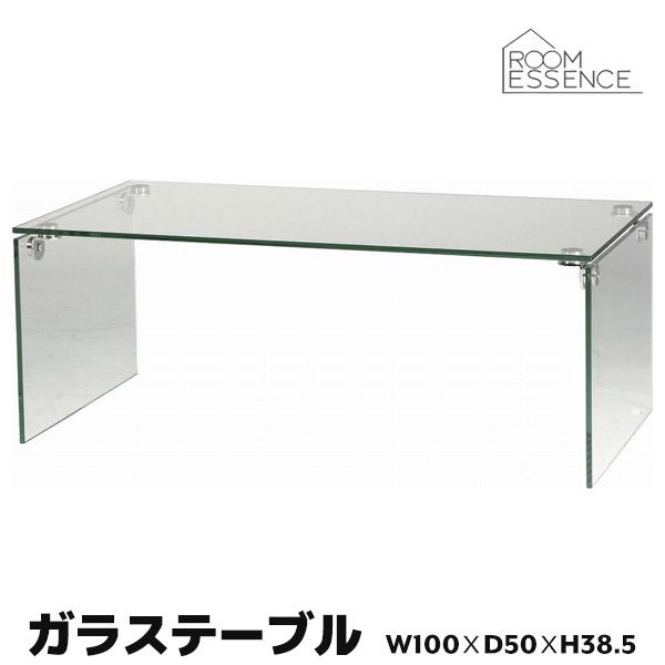ガラステーブル 幅100cm センターテーブル ローテーブル 机 強化ガラス ブラック PT-26