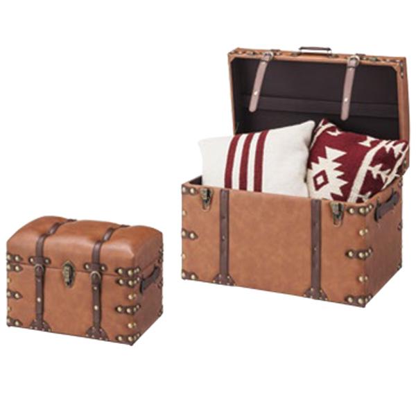 収納ボックス 2個セット トランク 旅行かばん風 木箱 収納箱 収納ラック 収納 スツール イス 腰掛け ストレージ ディスプレイ IW-276