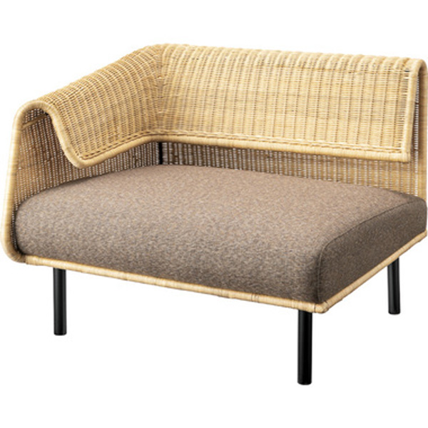 ソファ 片肘(向かって左) 幅88cm 1人掛け ソファー 椅子 ファブリック 贅沢 座り心地 ゆったり ラタン アイアン NRS-501B