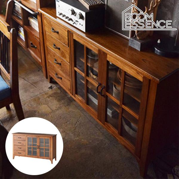 ヴィンテージ感のある木の風合いがお洒落なキャビネットキャビネット 幅120cm リビングボード カップボード 食器棚 収納棚 PM-308