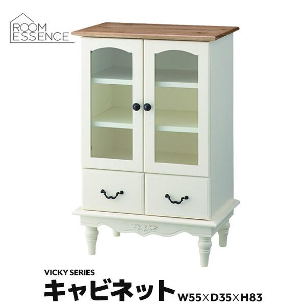 キャビネット 高さ83cm ラック 棚 引き出し 収納 キッチン 天然木 木製 リビング インテリア 姫系 お姫様 可愛い かわいい PM-852