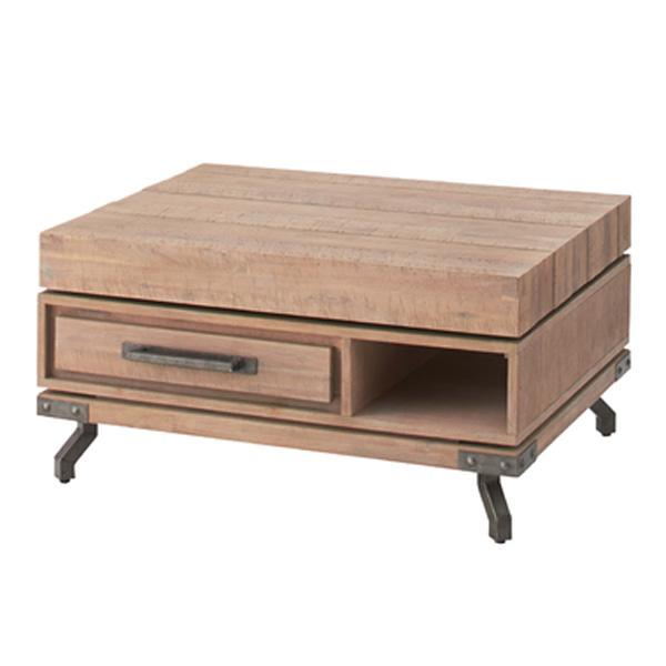 回転テーブル 幅90×高さ45.5cm センターテーブル テーブル 収納 引き出し 木製 スチール VET-724