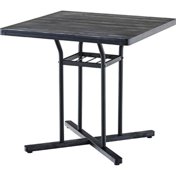 カフェテーブル 幅75×奥行75×高さ70cm スクエアテーブル テーブル 机 ダイニングテーブル おしゃれ 収納棚 収納 スチール 木製天板 ブラック ホワイト END-226BK END-226WH