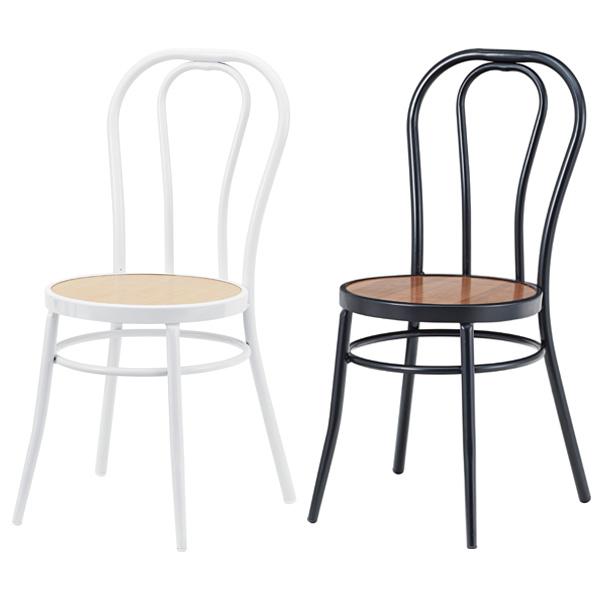 チェア 座面高さ45cm ダイニングチェア チェアー 椅子 イス スチール 木製 おしゃれ カフェ cafe ブラック ホワイト PC-464BK PC-464WH