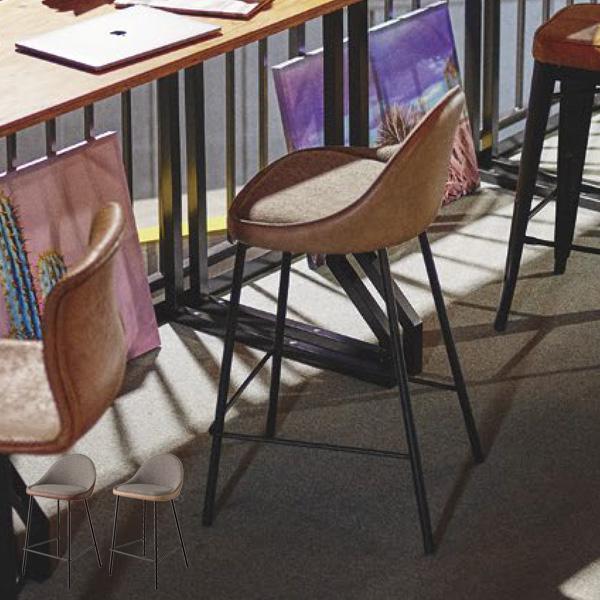 ハイチェア 座面高さ67cm バーチェア カウンターチェア チェア ハイスツール スチール ソフトレザー シンプル ベージュ ブラウン TEC-42BE TEC-42BR
