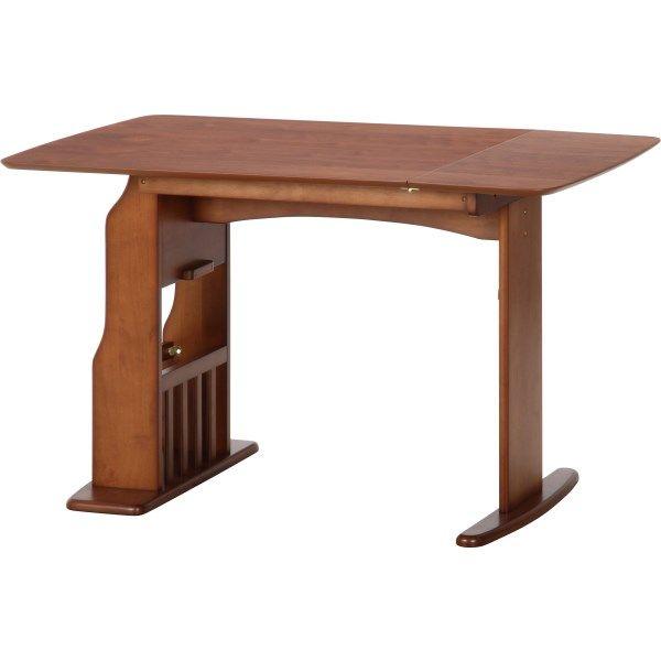 【代引き不可】 不二貿易 (FUJIBOEKI) ウィング テーブル バタフライ 12075MBR サイドには収納に便利なラック付 10603