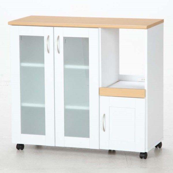 不二貿易 (FUJIBOEKI) ファミリー キッチンカウンター90 FA9083NA/WH 散らかりがちなキッチンの収納に便利 96364