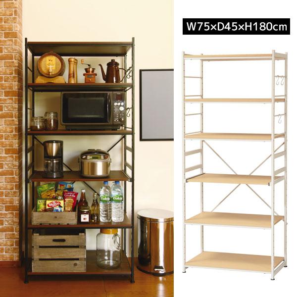 キッチン周りがすっきり収まる幅75cmのスチールラックすき間収納 隙間収納 キッチンラック レンジ台 食器棚 スリム キッチンボード 収納 オープンラック ナチュラル ブラウン SSR-75W