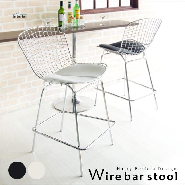 バースツール 高さ103cm ワイヤーバースツール ハイスツール ハイチェア カウンターチェア 椅子 いす メッシュ スチール レザー 合成皮革 ミッドセンチュリー デザイン ブラック ホワイト PCX-020