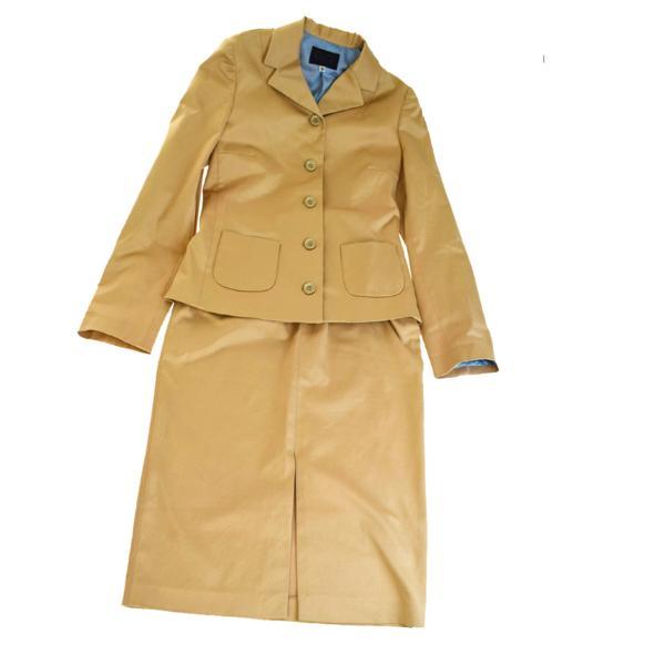 送料無料 【中古】 ドルチェ&ガッバーナ DOLCE&GABBANA D&G セットアップ スカートスーツ カーキ コットン レディース 26/40 03H1280