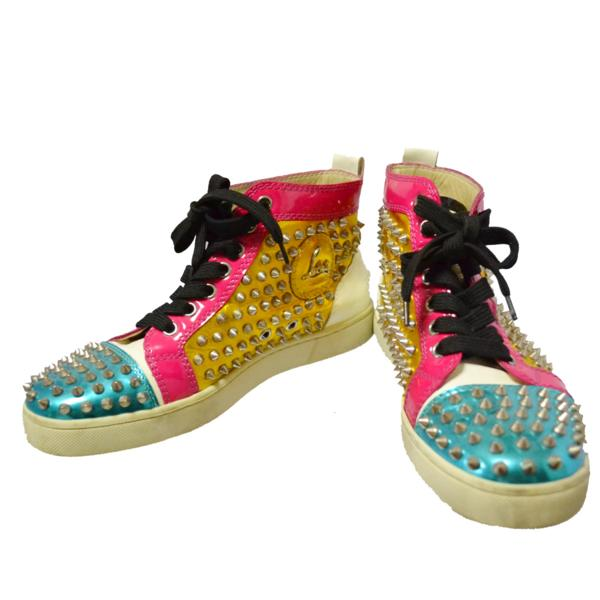 pretty nice 8ef30 a9e01 クリスチャンルブタン Christian Louboutin sneakers shoes higher frequency elimination  studs patent leather 37 24 24.5cm 64W528