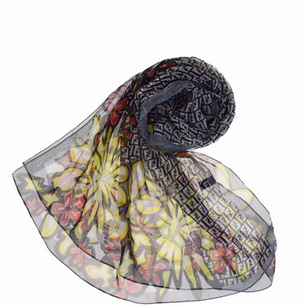 送料無料 【中古】 フェンディ FENDI ズッカ 横長 スカーフ シースルー 花柄 ブラック ホワイト イエロー レッド シルク 100% 07H1835