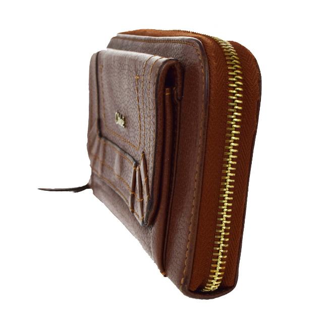 6b57e634ffcd 送料無料 【中古】 クロエ Chloe パラティ ラウンドファスナー 長財布 ブラウン レザー 保存袋 保存箱付き 01D281-レディース財布