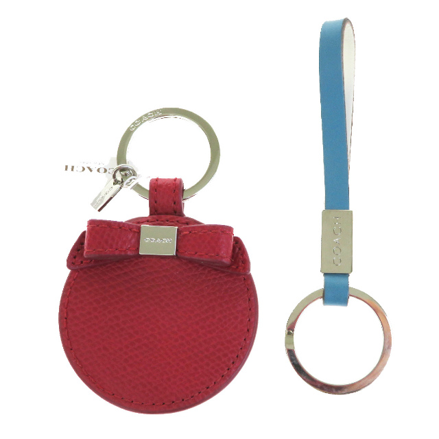 Two Points Of Set Coach Bag Charm Key Ring Mirror Red Light Blue Leather 03h1937