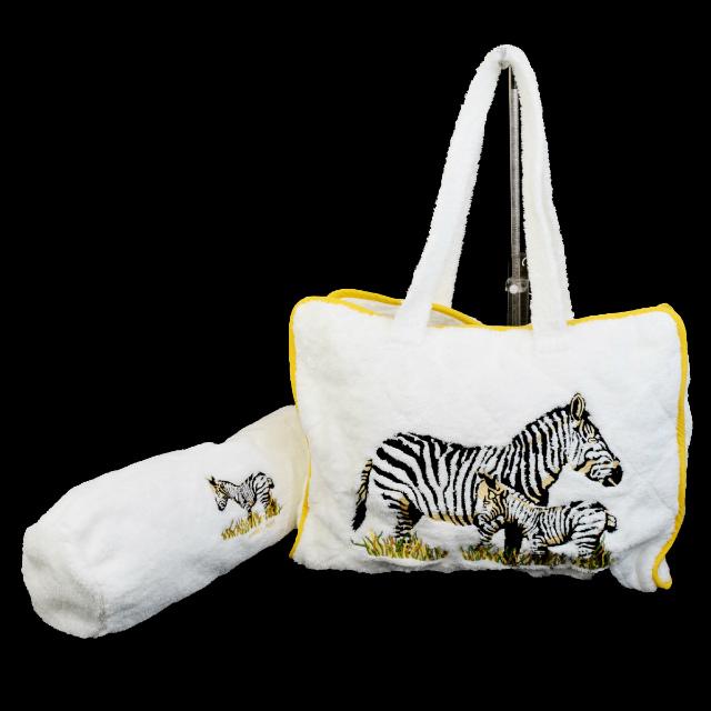 Beautiful Article Hermes Tote Bag Shoulder Handbag Pillow Set Zebra Terry White Cotton 03d705