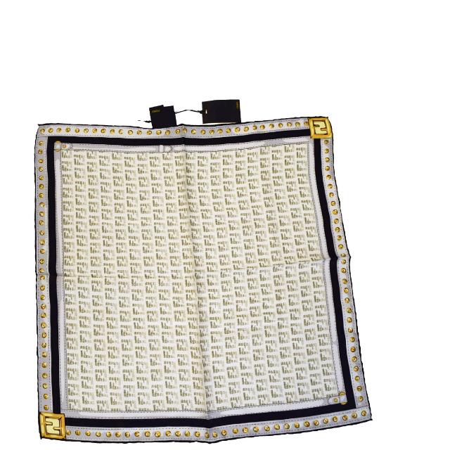 送料無料 【中古】 新型 未使用 フェンディ FENDI ズッカ スカーフ ベルト柄 ホワイト シルク 07HA055