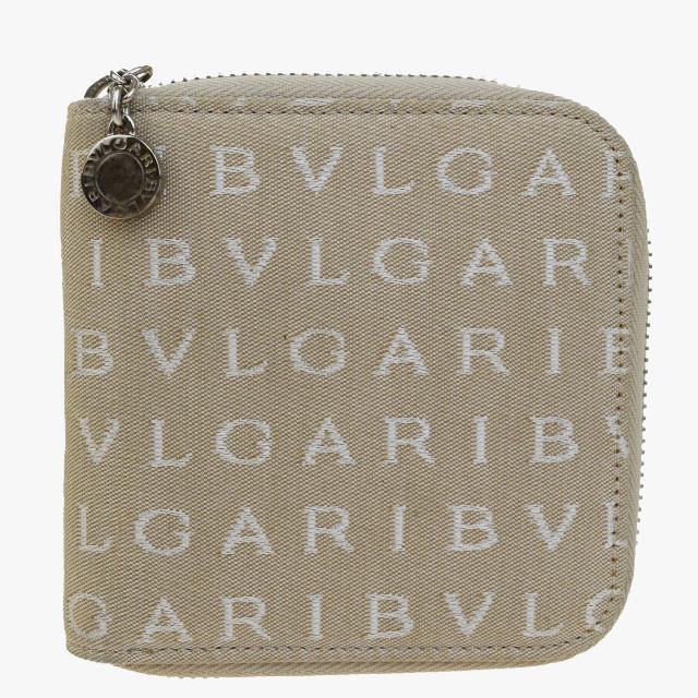 送料無料 【中古】 美品 ブルガリ BVLGARI ロゴマニア ラウンドファスナー 財布 ベージュ キャンバス レザー 04Q839