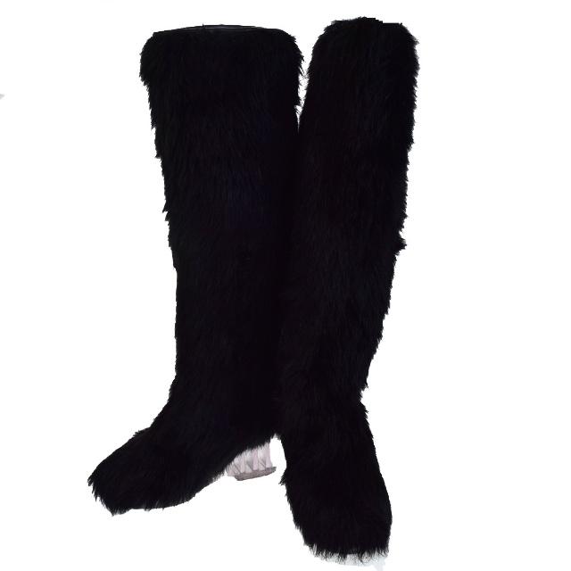 【中古】 美品 シャネル CHANEL ロングブーツ 靴 ココマーク フェイクファー ブラック レザー レディース 37 24cm 84F143